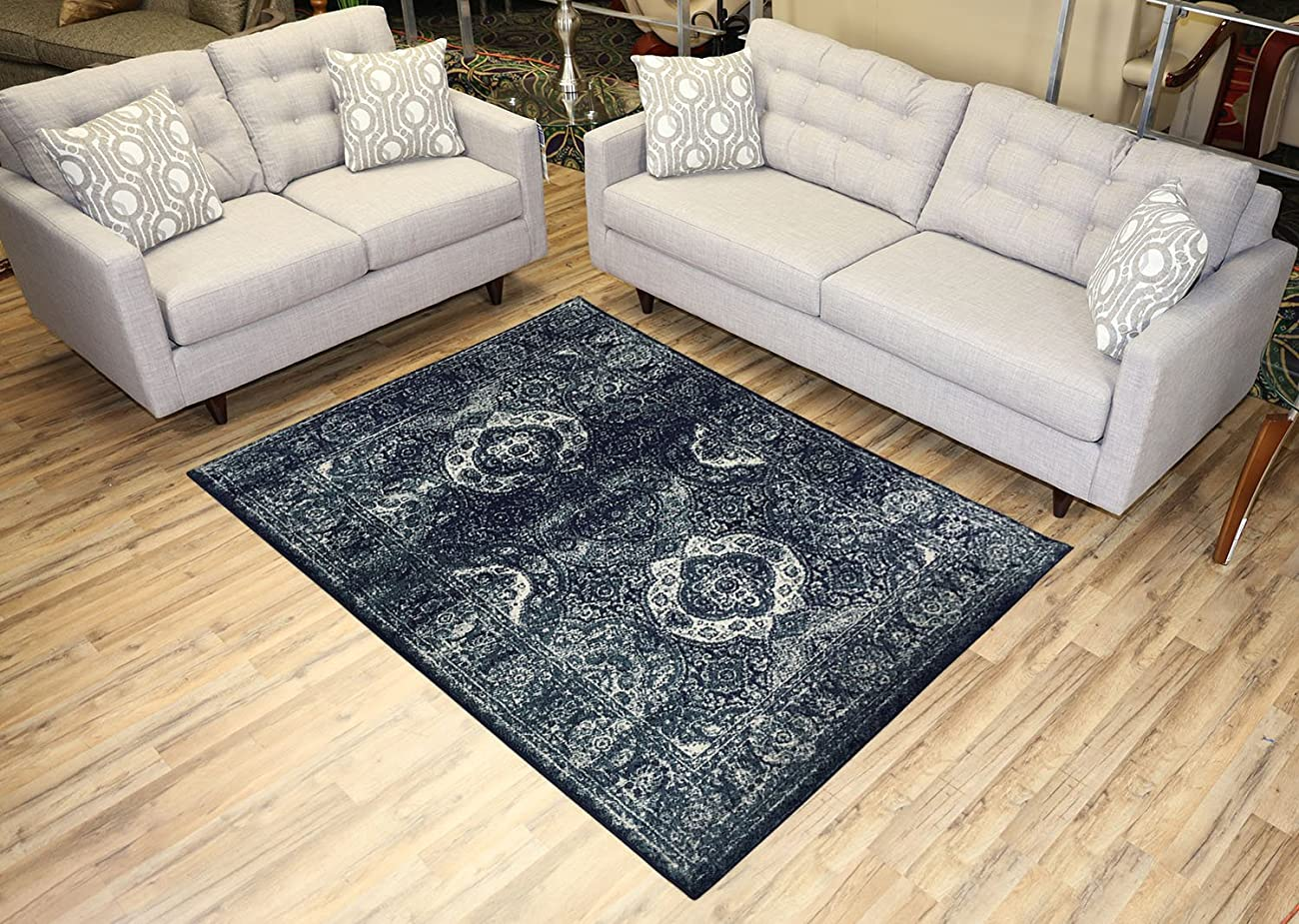 Studio Collection Vintage French Aubusson Design Contemporary Modern Area Rug Rugs 3 Different Color Options (Aubusson Navy Blue, 5 x 7) 0