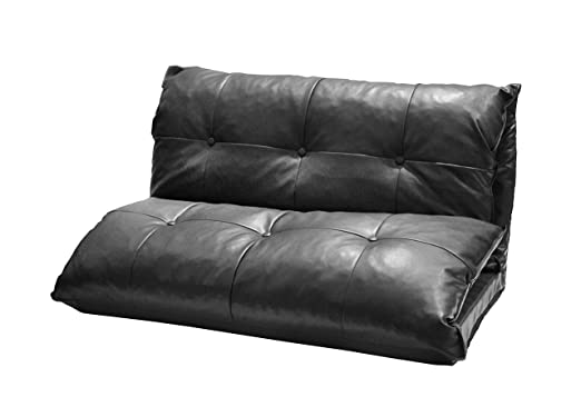 Urban Shop Tufted Faux Leather 3-in-1 Convertible Sofa, Black