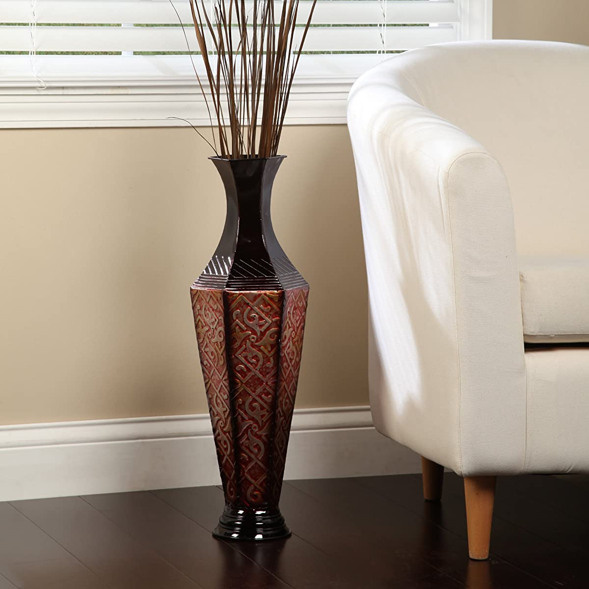 Metal Tall Floor Vase