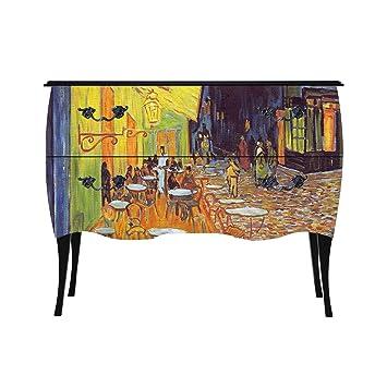 J&C Home M3 Van Gogh baroque dresser Klimt, 100 x 77,5 x 38,5 cm, mdf noir