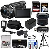 Sony Handycam FDR-AX53 Wi-Fi 4K Ultra HD Video Camera Camcorder + 64GB Card + Battery + Case + Tripod + LED Light + Mic + Filters + Fisheye Lens Kit (Color: Black)