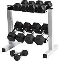 CAP 150 lb Rubber Hex Dumbbell Weight Set with Rack (5-25 lb)