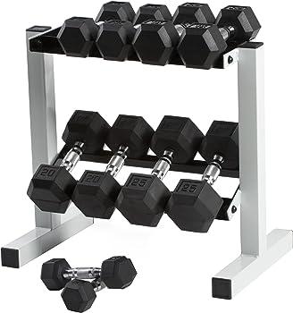 CAP 150 lb Rubber Hex Dumbbell Weight Set