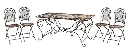 XXL Gartentisch + 4 Stuhle Eisen Tisch Gartenmöbel antik Stil garden furniture