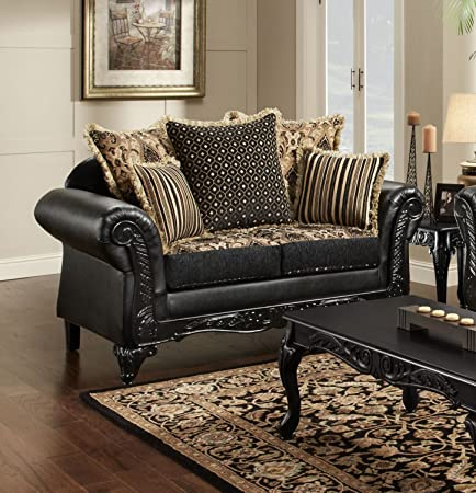 Chelsea Home Furniture Gwendolyn Loveseat, Monte Carlo Ebony/Bi-Cast Ebony