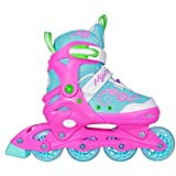 Hype Sherbet Adjustable Inline Skates Kids rollerblades Girls - Roller Blades for Youth, Kid, Girl, Boys - Comfortable fit - Safety non-slip wheels (Blue/Pink) (Tamaño: Large (5-8))