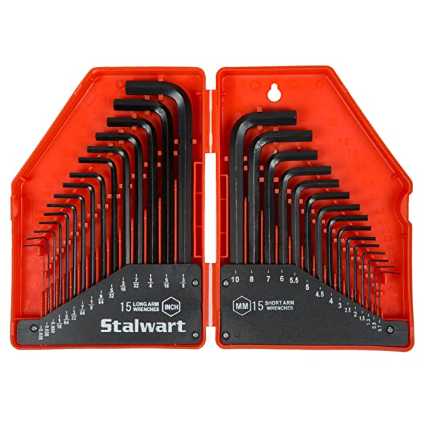 Stalwart 75-HT3010 Combo SAE & Metric Hex Key Wrench Set, 30 Piece
