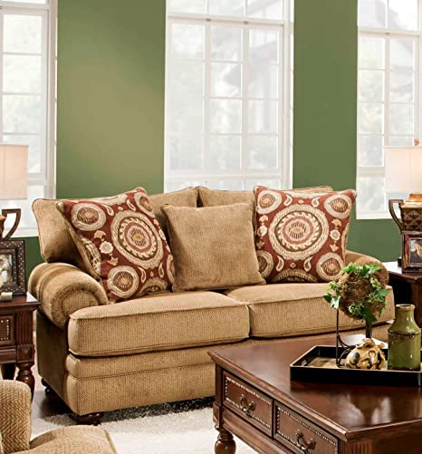 Chelsea Home Furniture Ria Loveseat, Twill Green/Sumatra Cayenne