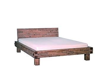 Bett San Marcos, Akazie massiv, sandgestahlt und gebeizt, 180 x 200 cm