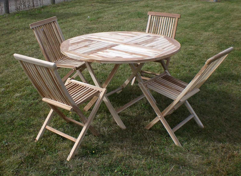Gartenmöbel Gartengruppe Sitzgruppe Teak Holz 4 Klappstühle 1 Klapptisch 120 cm