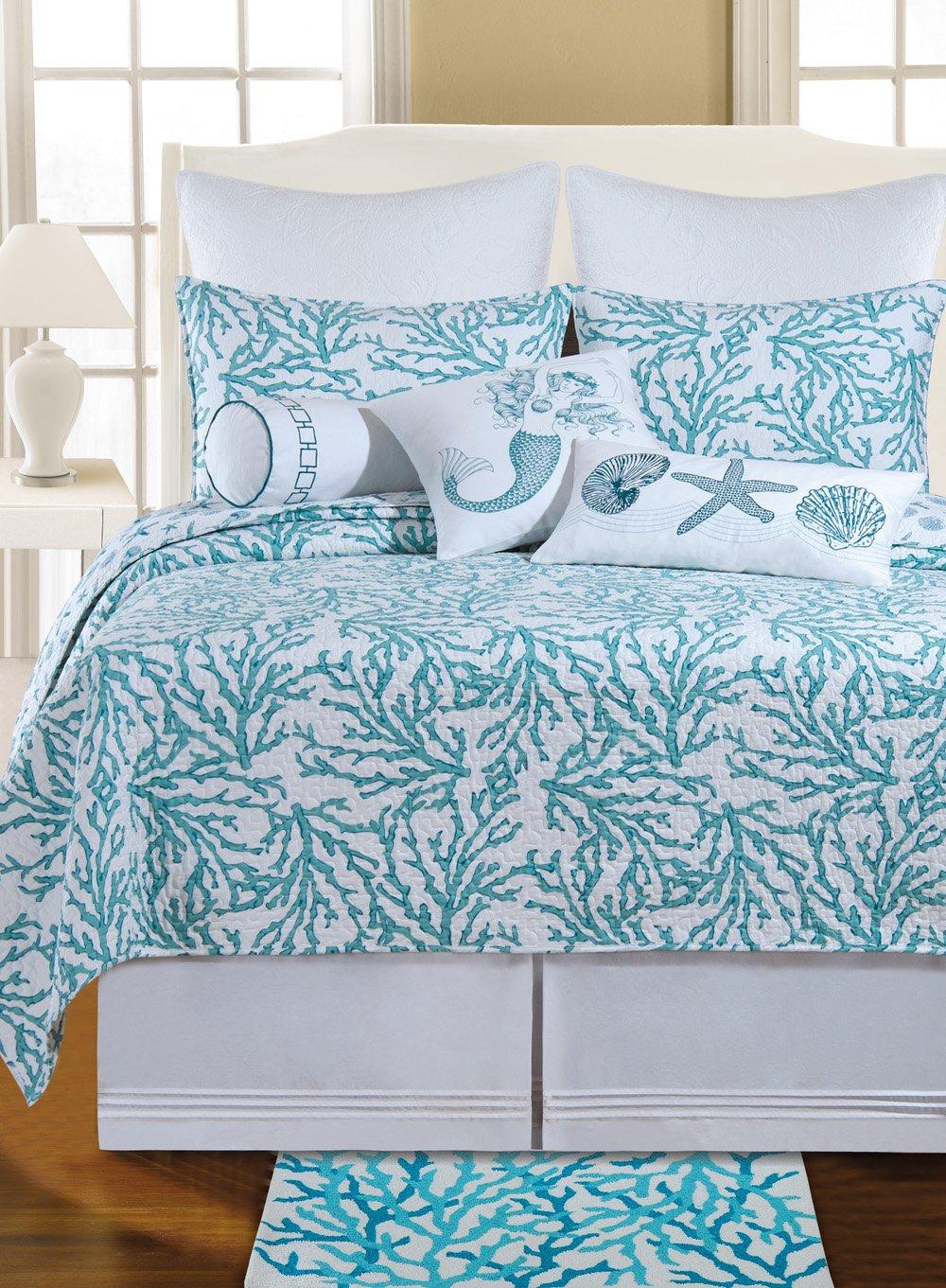Amazon.com - C & F Enterprises Cora Blue King Quilt - Beach Bedding