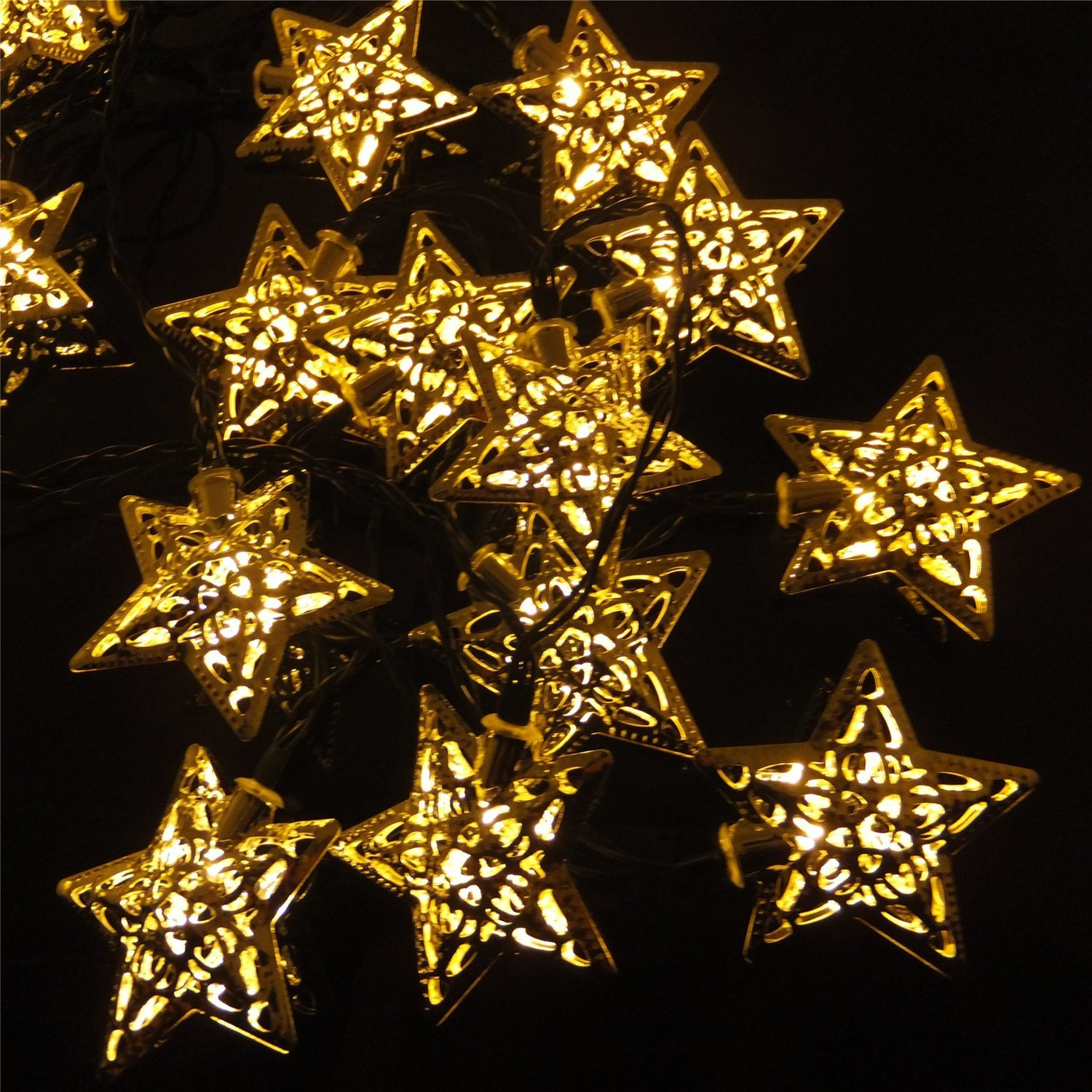 Christmas party decor solar powered silver star led string for Outdoor decorative lights