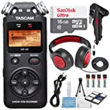 Tascam DR-05 (Version 2) Portable Handheld Digital Audio Recorder (Black) with Deluxe accessory bundle (Tamaño: Deluxe)