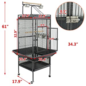 YOUKE Large Bird Cage with Play Top & Rolling Stand - Parrot Chinchilla Cage Macaw Cockatiel Cockatoo Pet House, 61 inch Wrought Iron (Color: Black, Tamaño: M)