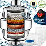 15 Stage Shower Water Filter to remove Chlorine Fluoride Lead - 2 Cartridge for Showerhead filters - Filtered showers head softener for hard water - Chrome