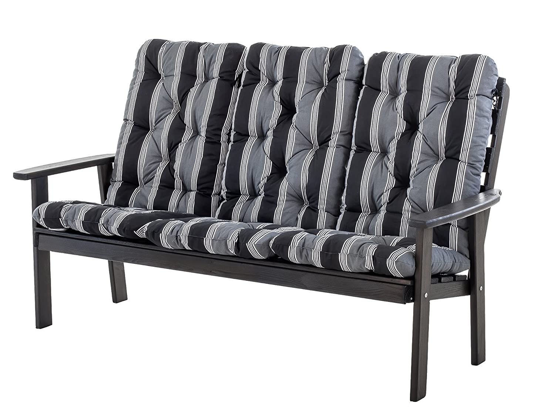 Ambientehome 90336 3-er Bank Gartenbank Holzbank Loungebank Massivholz Hanko Maxi, taupegrau mit Kissen, schwarz / grau