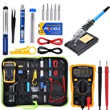 Soldering Iron Kit Electronics, 60w Adjustable Temperature Soldering Iron, Digital Multimeter, 2pcs Soldering Iron Tips, Desoldering Pump, Wire Stripper Cutter, Tweezers, Soldering Iron Stand