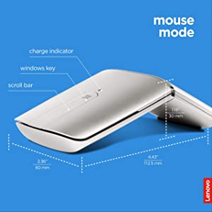 Lenovo Yoga Mouse, Silver, Ultra Slim 13.5mm, 180 Degree rotatable Hinge, 2.4G or Bluetooth 4.0 Wireless Connection, Multilayer Adaptive touchpad, Rechargeable Battery, GX30K69568 (Color: Silver)