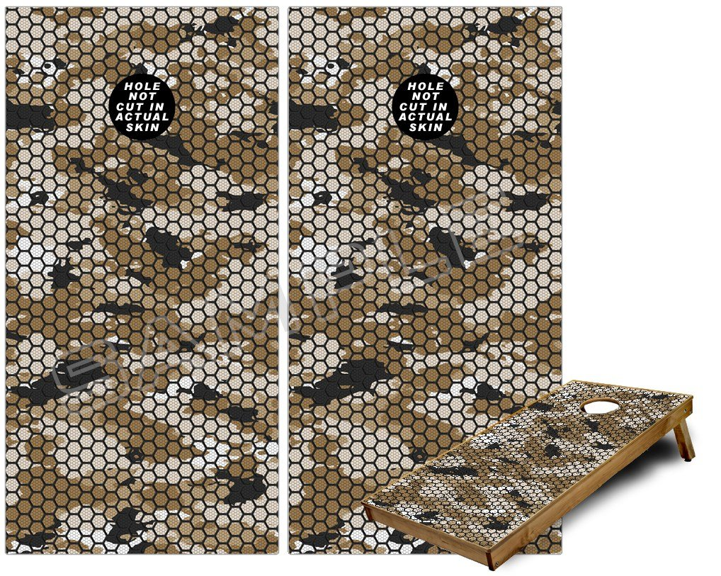 Cornhole Bag Toss Game Board Vinyl Wrap Skin Kit - HEX Mesh Camo 01 Tan (fits 24x48 game boards - Gameboards NOT INCLUDED)