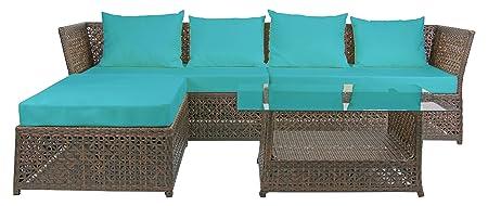 Rattan4Life 4-teilig Florenz Deluxe Polyrattan Gartenmöbel Set, Sofa / Lounge / Gartengarnitur / Kissenbezug, braun / mix / turkis