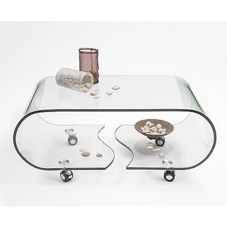 Homely - Mesa de centro con ruedas y cristal curvado de una pieza Coffee - 90x48 cm.