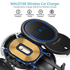【Updated Version】Wireless Car Charger Mount-Triangle Linkage Automatic Clamping 10W Qi Fast Charging Air Vent Phone Holder,Infrared Sensing Compatible with iPhone 11 Pro Max Xs X 8,Samsung S10 Note 9