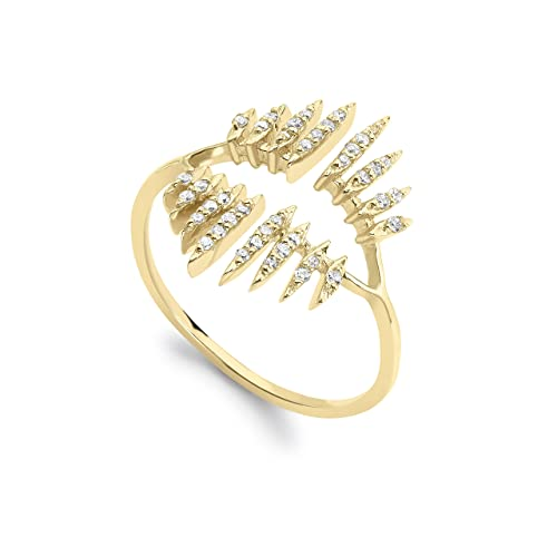 Celine d'Aoust 14 ct Yellow Gold Round White Diamonds 16 Beams Open Ring - Size L