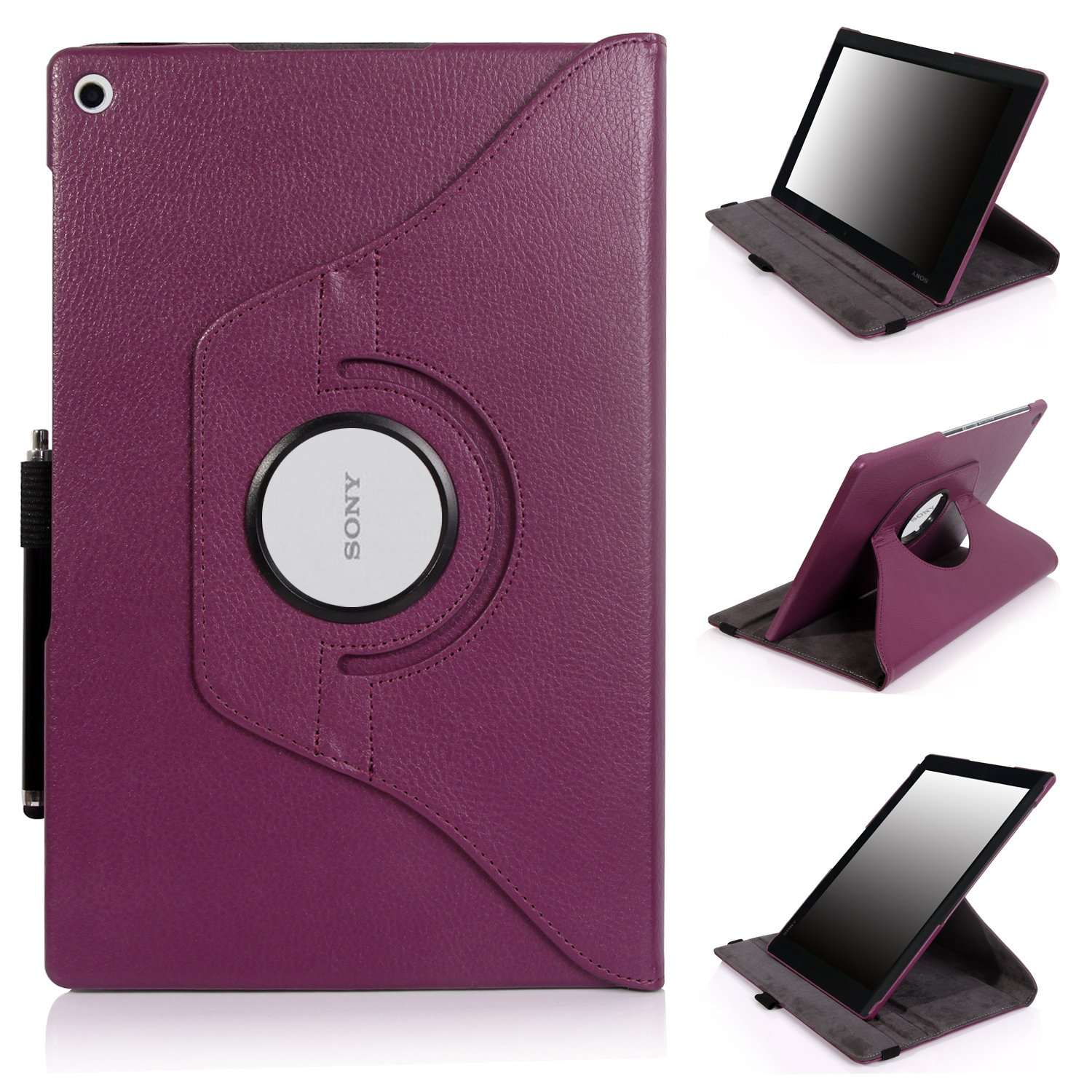 E LV 360 rotating Lightweight Case Cover stand for Sony Xperia Z2 (2014) 10.1 inch (Android Tablet) with 1 Stylus (Purple, Sony Xperia Tablet Z2)