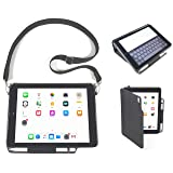 iPad Folio Carry Case with Shoulder Strap for 2018 6th Gen, 2017 5th Gen 9.7-inch iPad & Air 1 & 2 INNOVATIVECAREUSA.COM -Impact Resistant Professional Grade Rugged Durable iPad Case. Bulk order disc. (Color: Black, Tamaño: 7 1/2