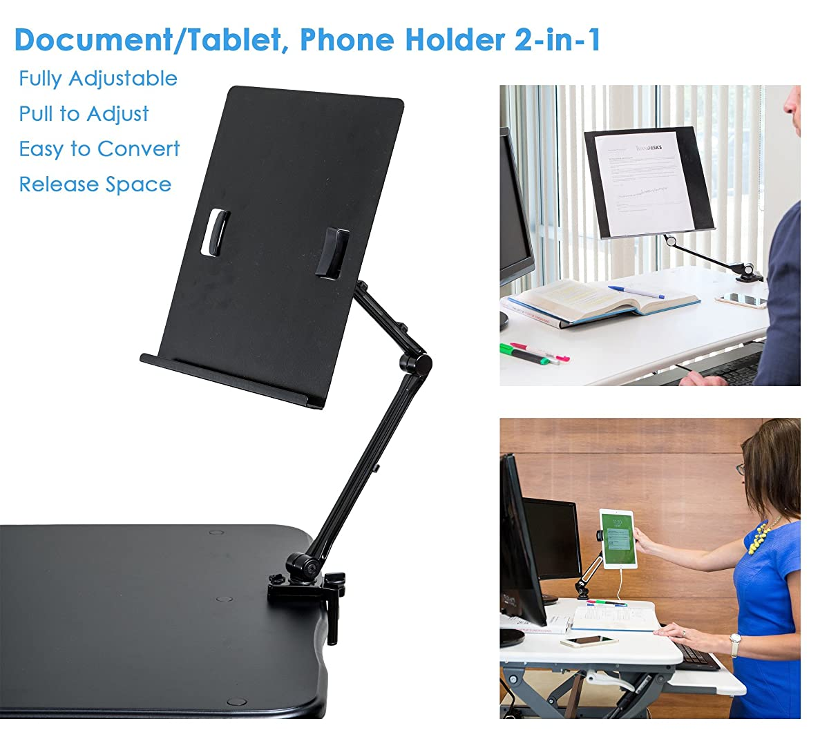 TrenDesks Document Copy Holder and Tablet/Cellphone Holder 2-in-1 (Black), Full Motion, Pull to Adjust Height, Angle and Direction