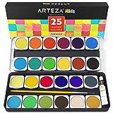 ARTEZA Kids Premium Watercolor Paint Set, 25 Vibrant Color Cakes, Includes Paint Brush (Set of 25) (Color: Watercolor Paint Set (Kids))