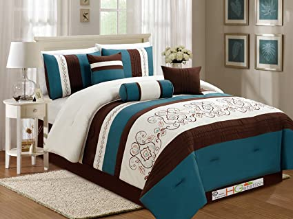 Amazon.com - 7-Pc Floral Scroll Damask Embroidery Piping Comforter ...