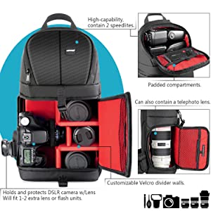 Neewer Professional Camera Storage Sling Bag Waterproof Shockproof Tearproof Partition Protection Case for Canon Nikon Sony Pentax Olympus Fujifilm Panasonic Dslrs and Mirrorless Cameras(Red Interior) (Color: Black/Red, Tamaño: 8.27x5.51x15.75 inches)