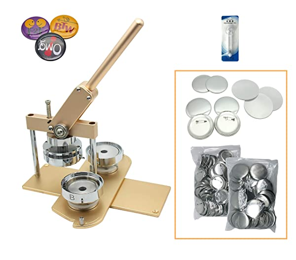 ChiButtons Kit 75mm (3) Button Maker Badge Press Machine-B400 + 75mm Round Die Moulds + 100 Set Pin Button Components + Adjustable Circle Cutter (Golden-New) (Color: Golden-new)