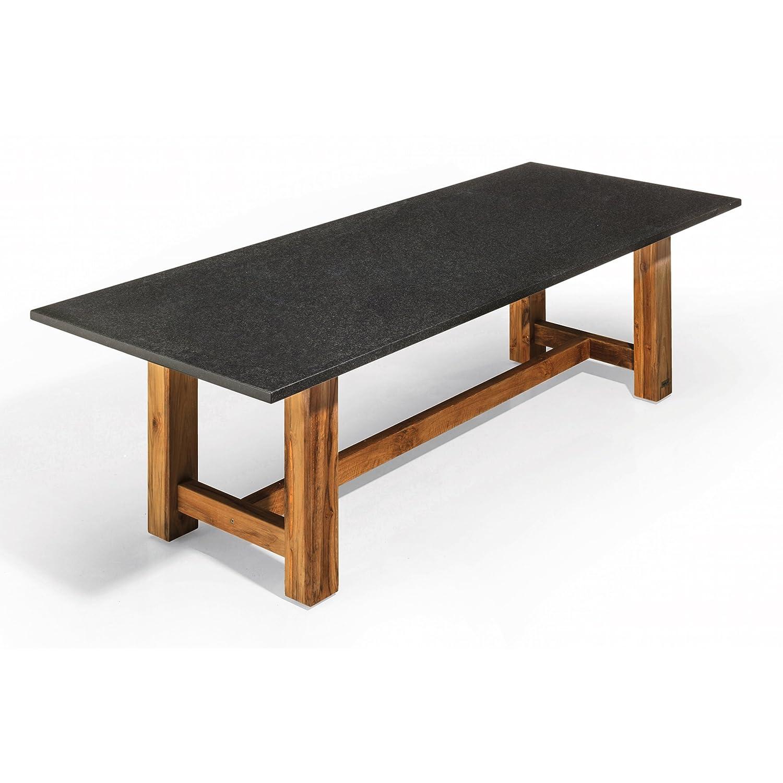 Studio 20 Gartentisch Outdoortisch Granittisch Voss Teakholz 220 x 100 x 75 cm Tischplatte Pearl black satiniert