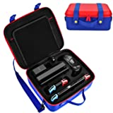 Diocall Carrying Case for Nintendo Switch, Deluxe Travel Case Compatible with Nintendo Switch System,Extra Pro Controller, Other Accessories (Color: Blue + Red)