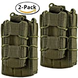 Hoanan Double Mag pouch, Tactical Molle Magazine Pouch Open-Top Single Rifle Pistol Mag Pouch Cartridge Clip Pouch Hunting Bag (2pack-Upgrade olive) (Color: 2pack-Upgrade olive)