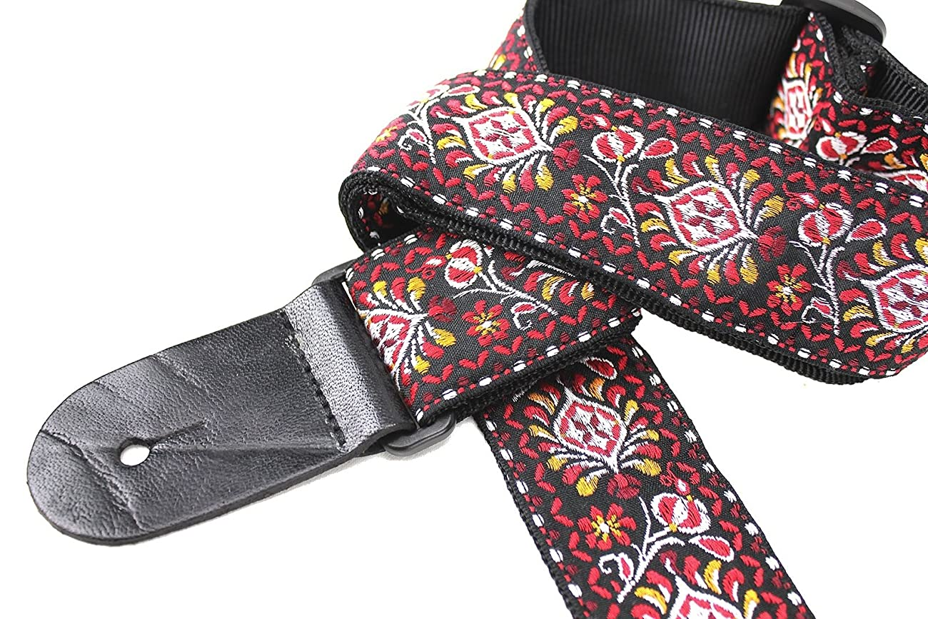 Walker & Williams H-22 Red Hendrix Woven 60's Style Hootenanny Hippie Guitar Strap 3