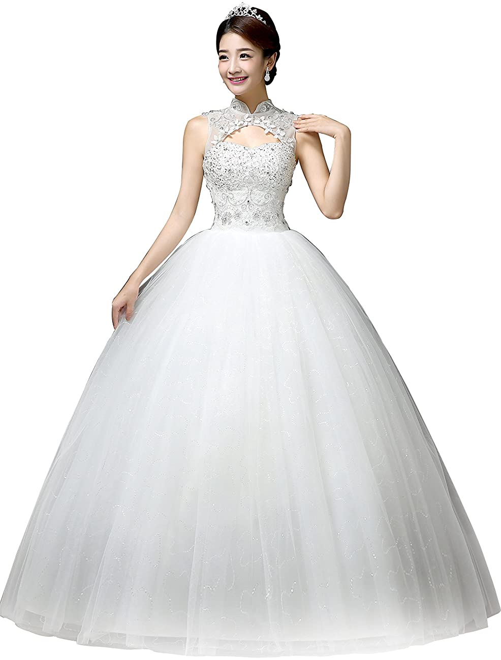 Clover Bridal Vintage High Collar Pearl Wedding Dress for Bride White Under 100 0