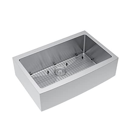 "Kohsh 33"" Farmhouse Apron 16-Gauge Single Bowl Stainless Steel Kitchen Sink Include Strainer & Grid"