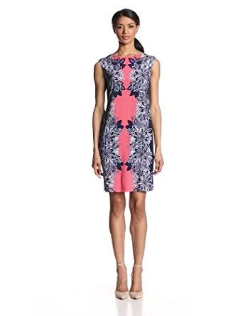 Sandra Darren Women's Sleeveless Mirror Print Dress, Navy/Coral/White, 6