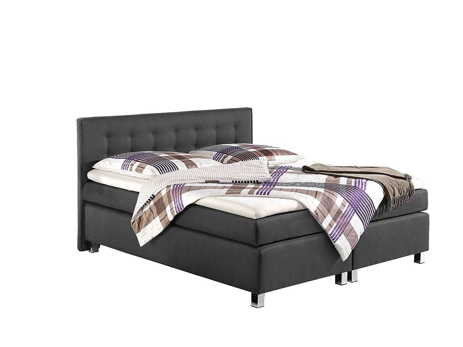 Maintal Betten 235898-3147 Boxspringbett Katar 180 x 200 cm inklusive Topper, anthrazit