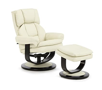Vardo Bonded Leather Swivel and Recliner Chair With Mahogany Base