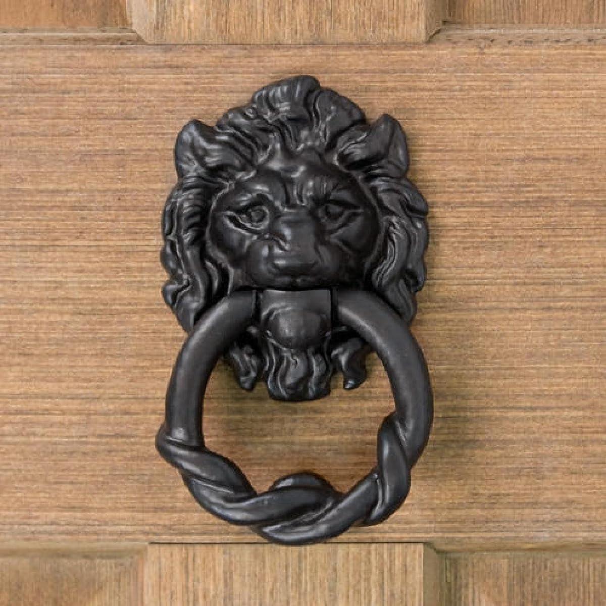 Casa Hardware Hand-Forged Iron Lion Head Door Knocker - Black Powder Coat