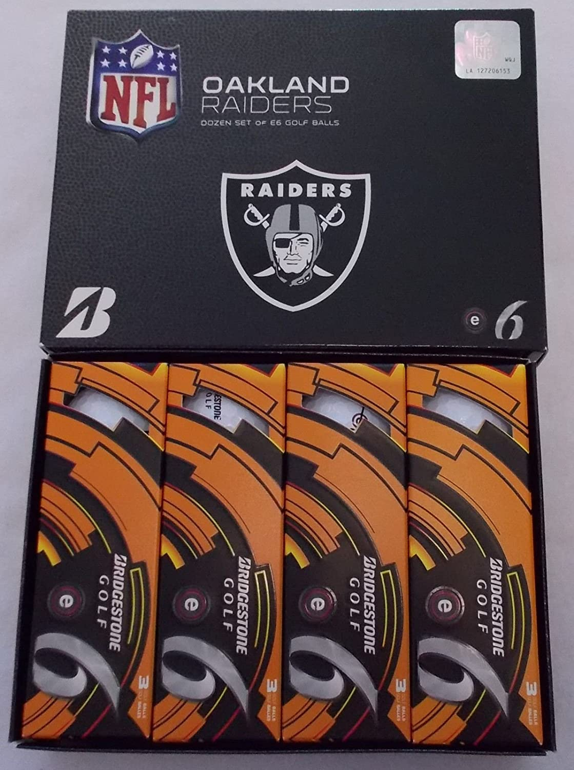 New Bridgestone E6 2013 NFL Golf Balls - 1 Dozen - Oakland Raiders
