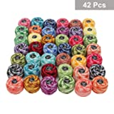 Kurtzy Crochet Thread 42 Pcs - Stripy Design Cotton Yarn in an Assortment of Colors - 1995 Yards in Total - Crochet Thread for Patterns, Hand Embroidery Projects and Applique (Tamaño: Assorted Stripy Design)
