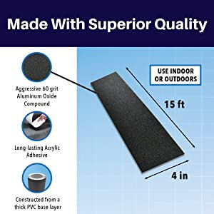 SlipDoctors Outdoor Black Anti-Slip Safety Tape 4 inch x 15 feet, Highest Traction Strong Adhesive, Indoor and Outdoor, Use on Walkways, Stairs, Ramps and Decks (Color: Black, Tamaño: 4)