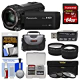 Panasonic HC-V770 Wireless Smartphone Twin Recording Wi-Fi HD Video Camera Camcorder with 64GB Card + Case + 3 Filters + Tele/Wide Lens Kit (Color: Black, Tamaño: 64GB Kit)