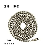 25pcs Nickel Plated Ball Chain Necklace,30 Inches Long 2.4mm Bead Size # 3 Metal Bead Steel Chain, Military bead chain, Dog Tag Necklace by Special100%
