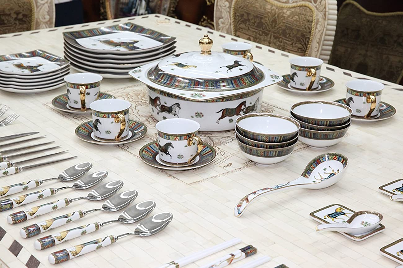 Royal Porcelain Greek Key Horse Cheval 75-pc Large Dinner and Sushi set, Service for 6, Vintage Luxury dinnerware banquet set in a case 0
